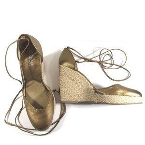 Michael Kora Gold Espadrille Lace Wedge cap toe